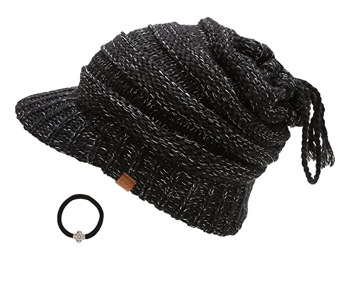 D Y Women s Beanie Tail Cable Knit Visor Ponytail Beanie Hat With Hair Tie. c4f6ec13ded
