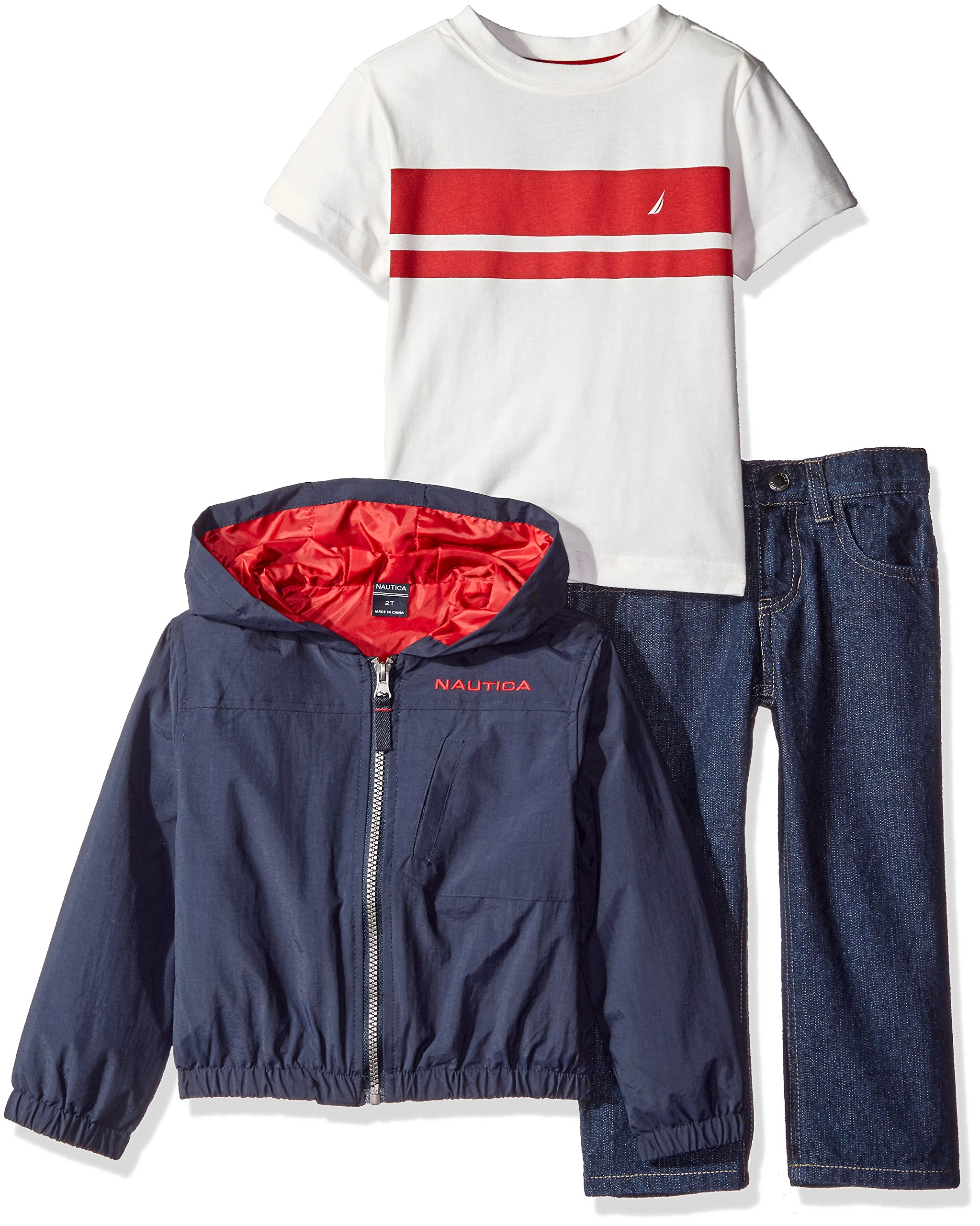 Nautica Little Boys' Toddler Three Piece Outerwear Set with Hooded Shell Jacket Tee and Pant, Sport Navy, 2T