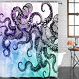 BLEUM CADE Bathroom Shower Curtain Octopus Curtains With 12 Hooks Waterproof Mildew Resistant Fabric