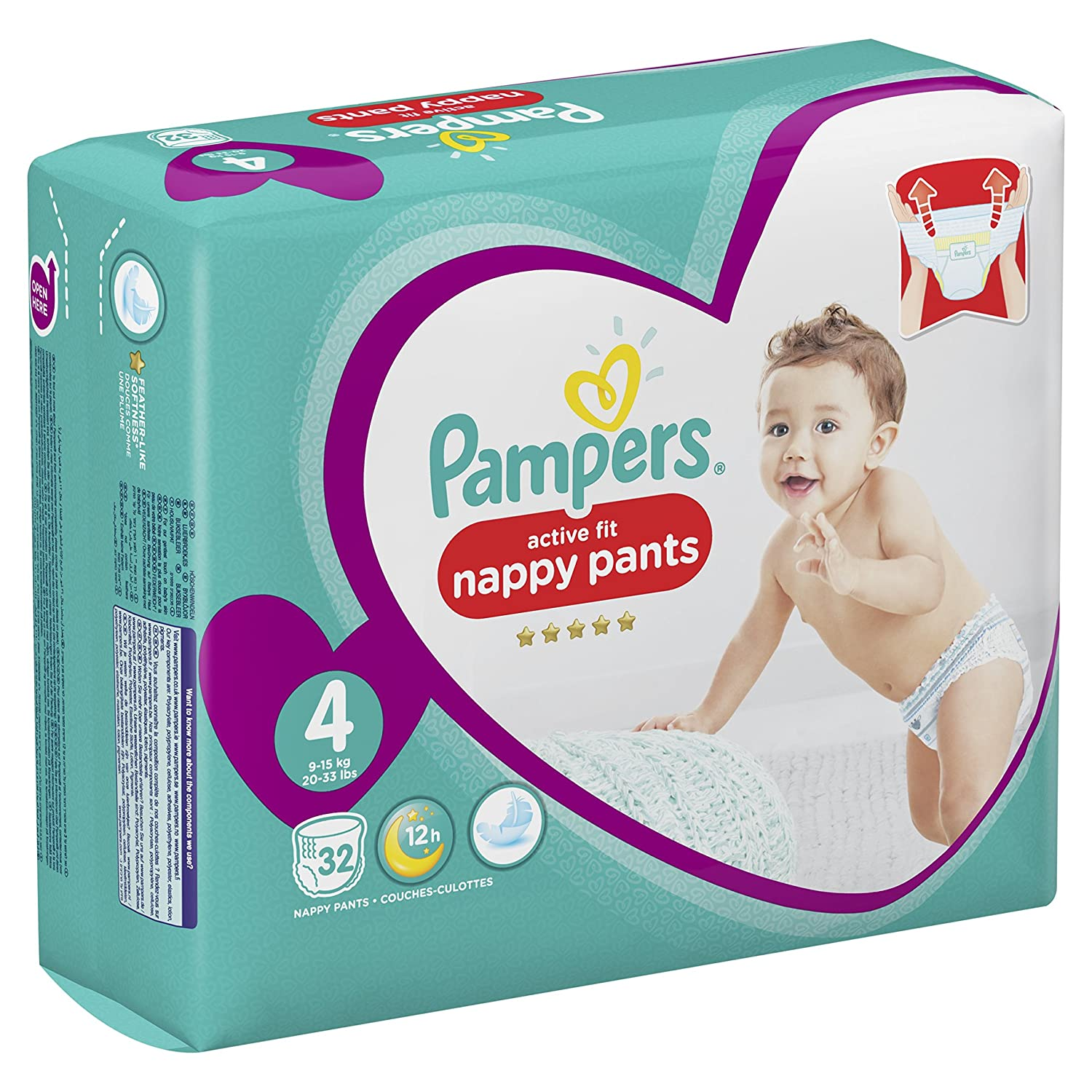 - Pack G/éant 8-14 kg x32 culottes Active Fit Pants Pampers Couches-culottes Taille 4