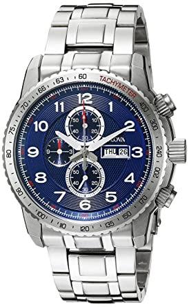 25dd14c25 Image Unavailable. Image not available for. Color: Bulova Men's 96C121 Marine  Star Analog Display Quartz Silver Watch