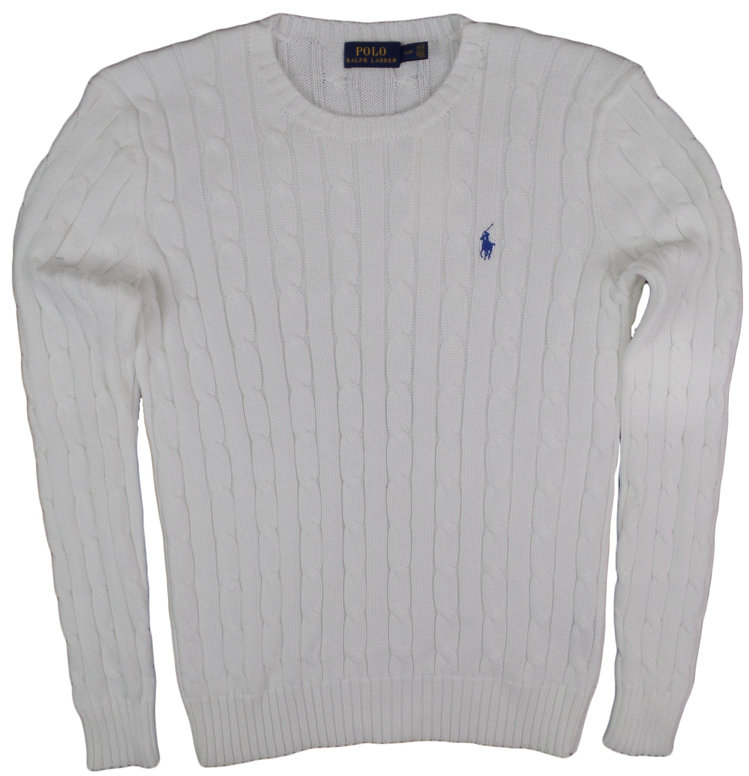 Ralph Lauren Women's Crewneck Cable Knit Pony Logo Sweater (L, White)