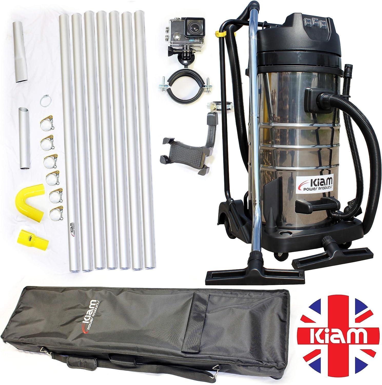 Kiam Gutter Cleaning System Kv100 3 3600w Triple Motor Industrial Wet Dry Vacuum Cleaner Gutter Pole Kit 4k Wifi Inspection Camera Holdall Carry Bag 28ft 8 4m Amazon Co Uk Kitchen