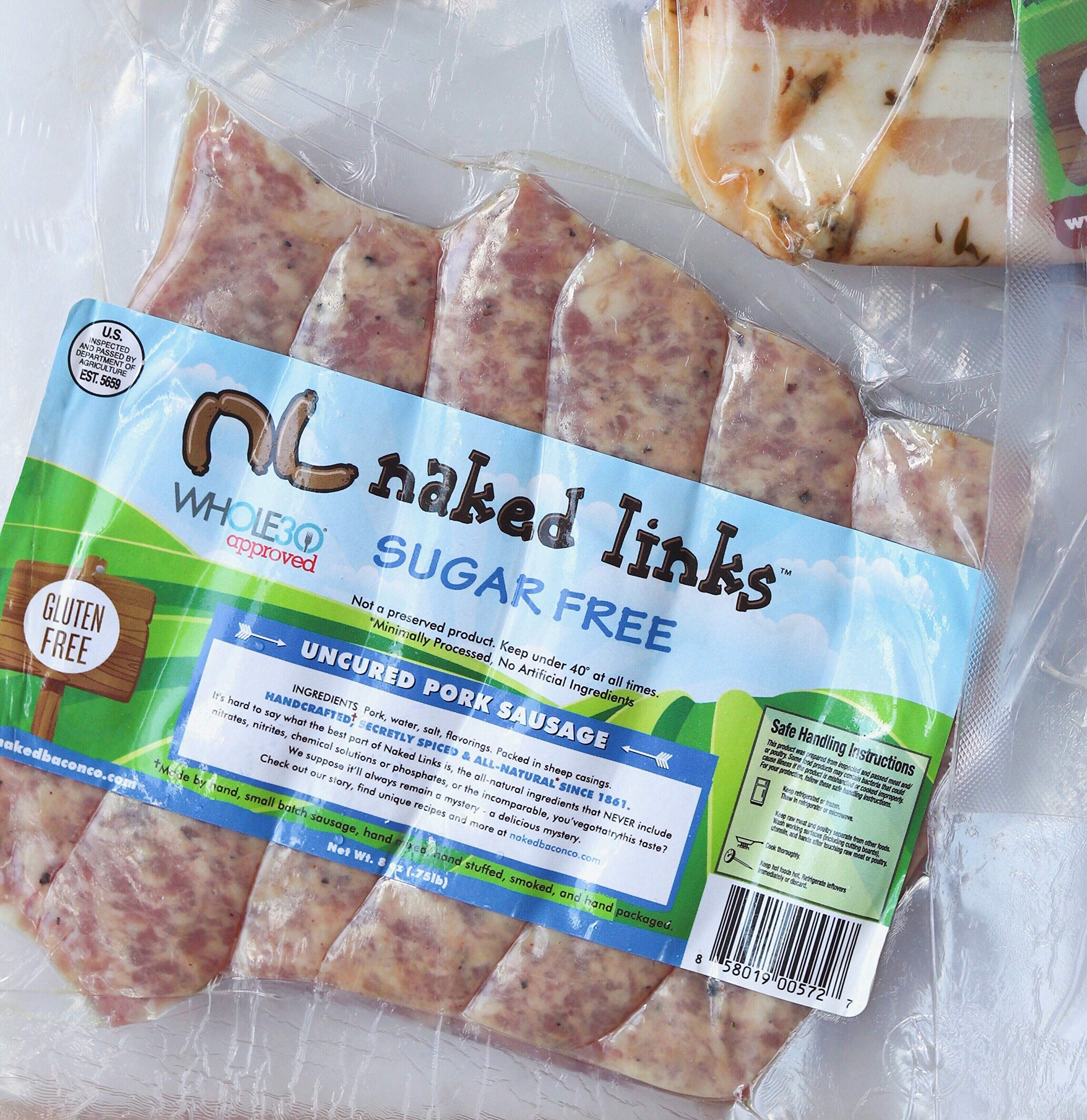 Sugar Free Breakfast Sausage Links - Naked Links - Whole30 Approved Multipack (5 packages)