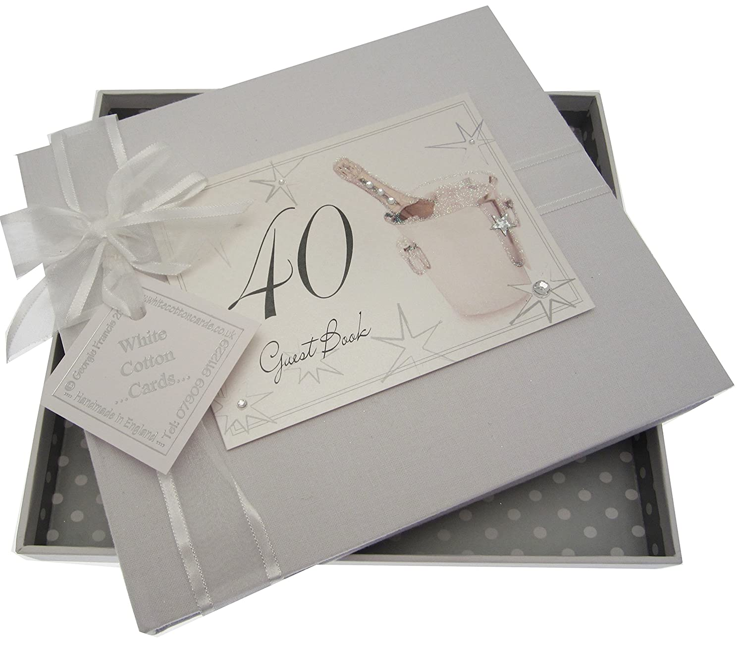 40th Birthday, Guest Book, Champagne Bucket White Cotton Cards AC40G
