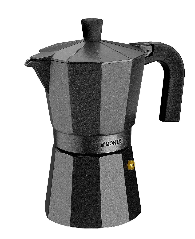 Monix Vitro Noir – Cafetera Italiana de aluminio, capacidad 6 tazas, apta para todo tipo de cocinas salvo inducción 18 x 15 x 12.5 cm