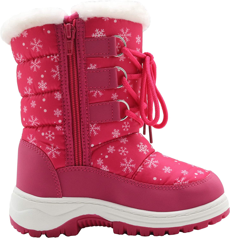 Apakowa Kids Girls Insulated Fur Winter Warm Snow Boots Toddler//Little