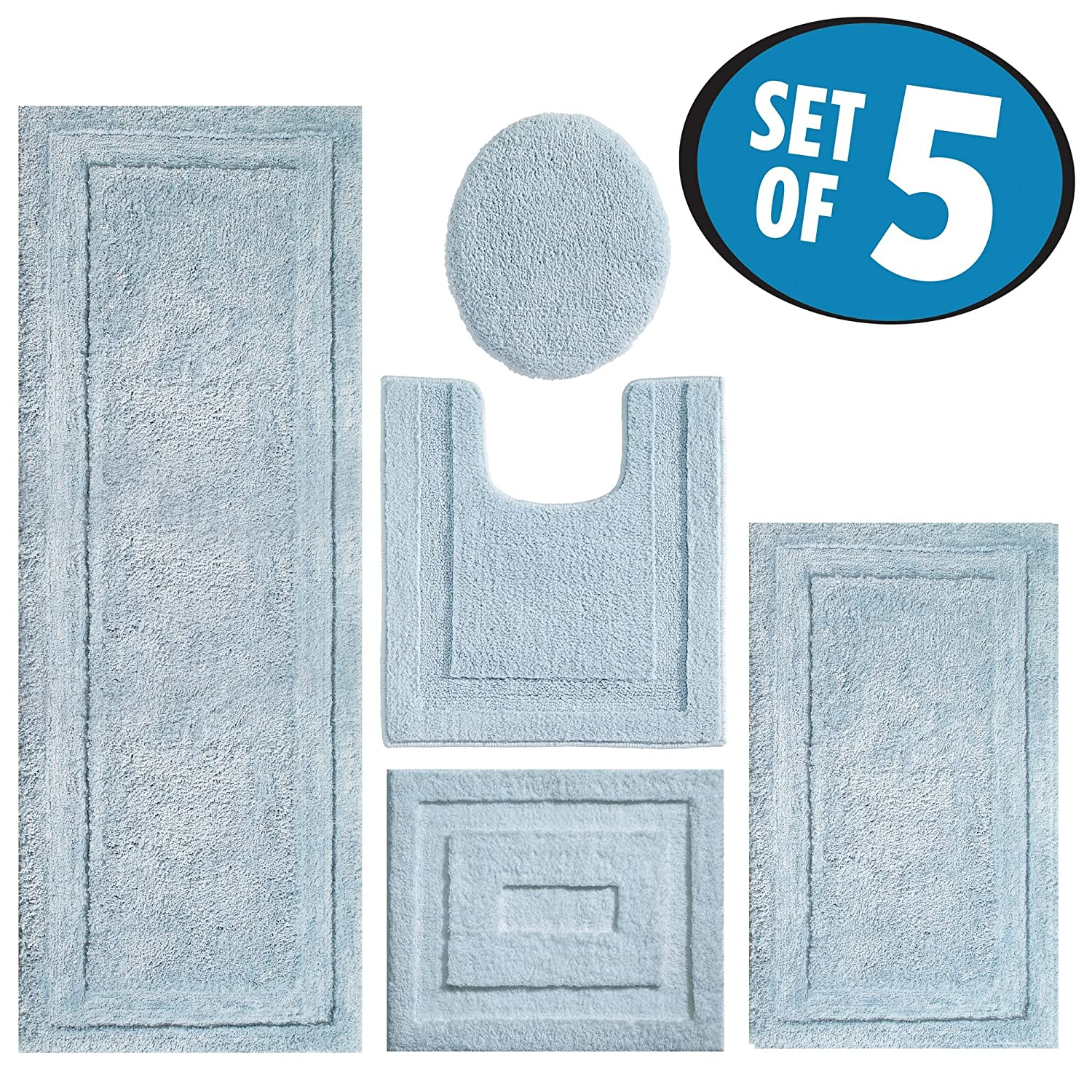 mDesign Contour, Toilet Seat Cover, and Bathroom Mat Combo Pack - Set of 5, Water MetroDecor