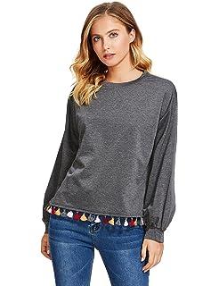 eb156ac8da9c37 Romwe Women's Loose High Low Tassel Trim Round Neck Pullover Sweatshirt
