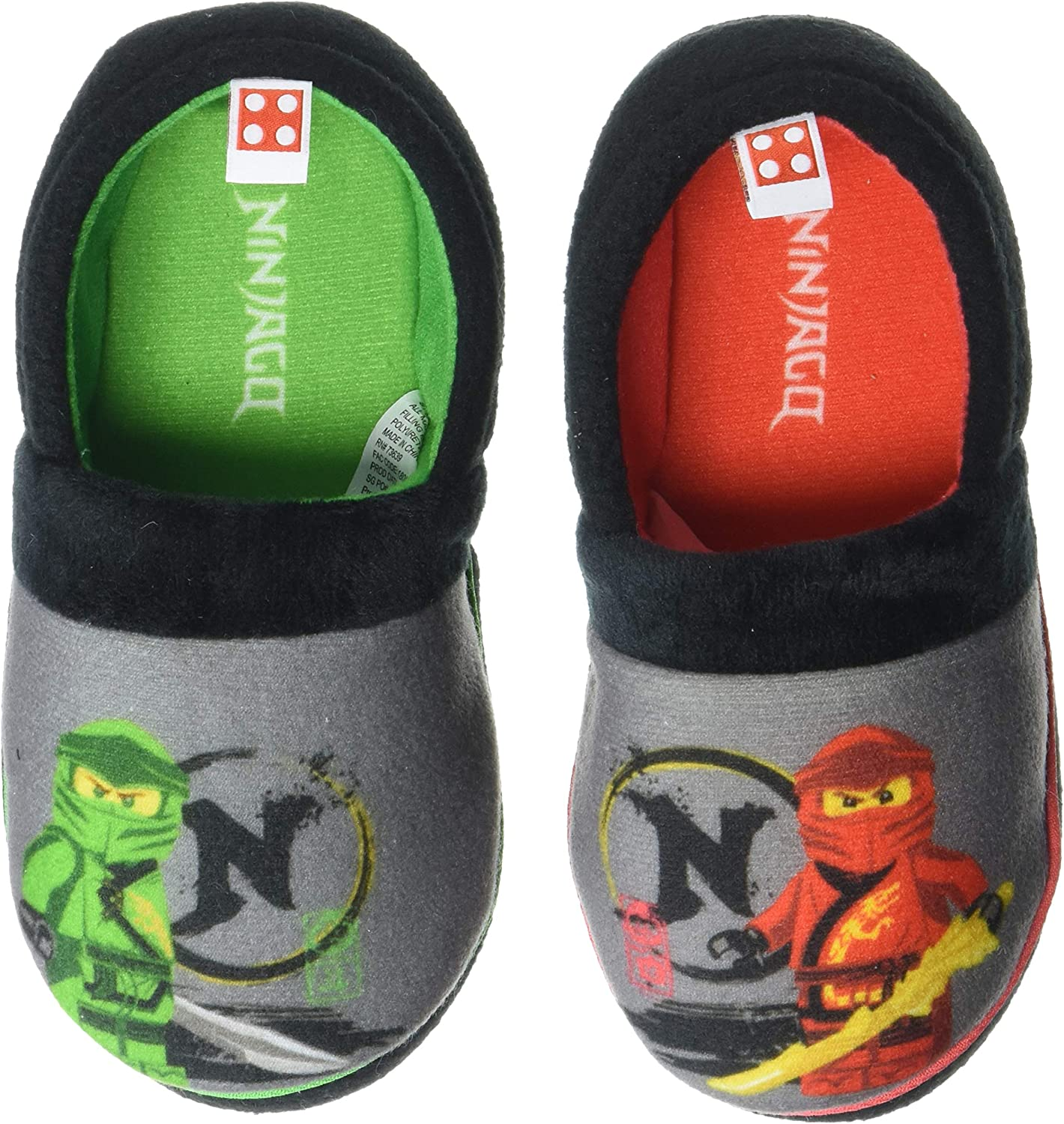 Easy Slip On Slippers for Kids Little Kid Size 9//10 to Big Kid Size 2//3 LEGO Ninjago Slippers with Kai and Lloyd