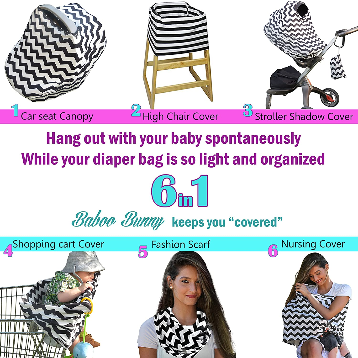 Amazon Nursing Cover Breastfeeding Scarf Baby Car Seat Canopy Shopping Cart Stroller Carseat Stretchy Covers Unisex Girls And Boys Black White