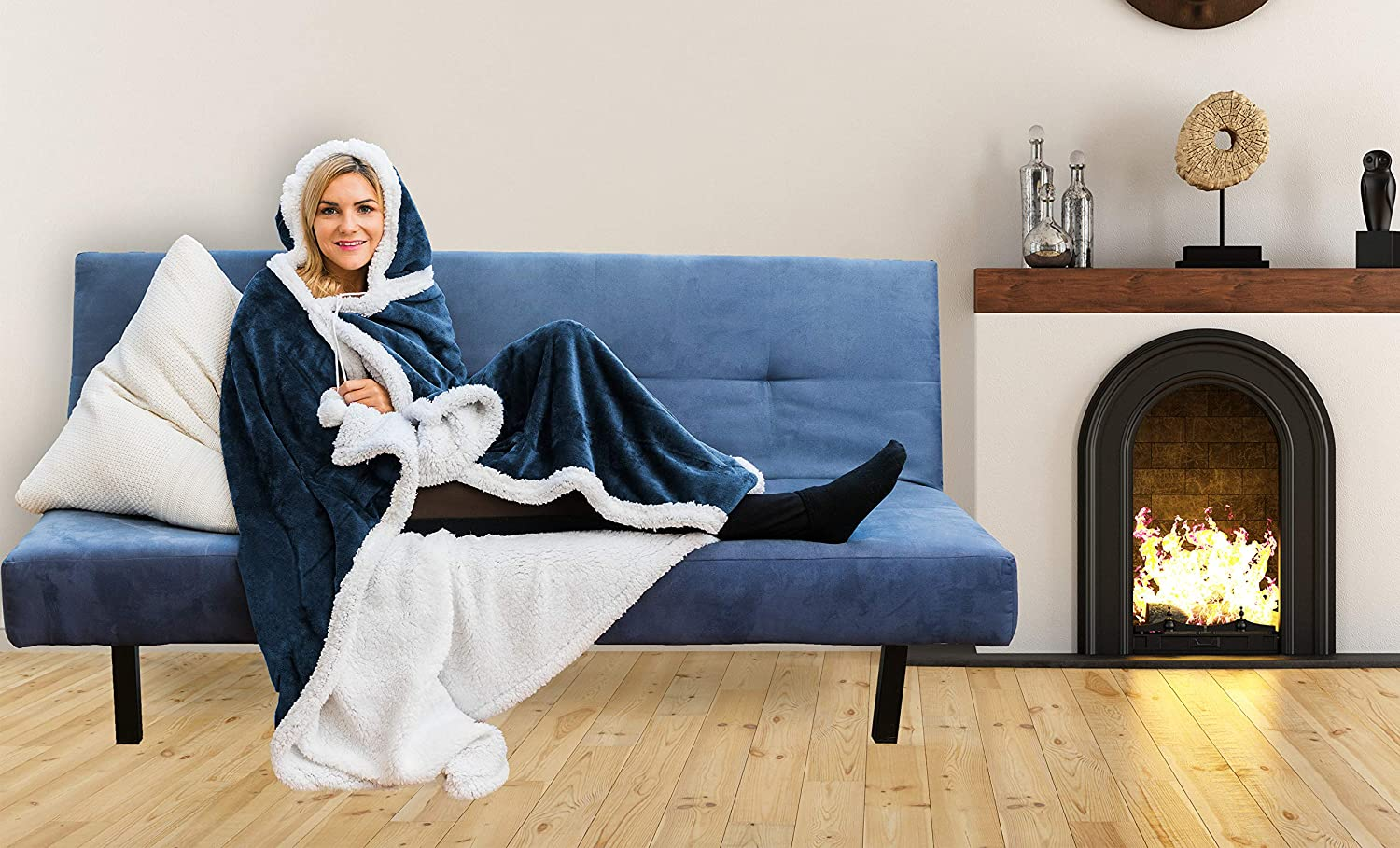 Hooded throw wearable blanket Ivory