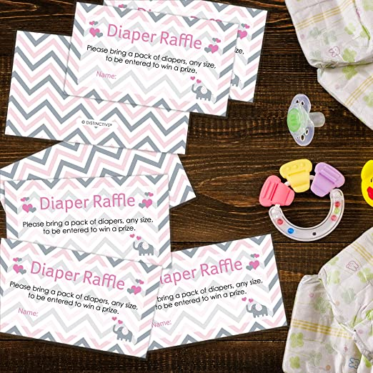 amazoncom pink and gray elephant baby girl shower diaper raffle tickets set of 25 health personal care