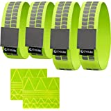 Premium EvoLike Reflective Wristbands / Belt / Armbands / Ankle Bands (4 pack / 2 Pairs + 60 pcs Free Reflection Stickers Included)