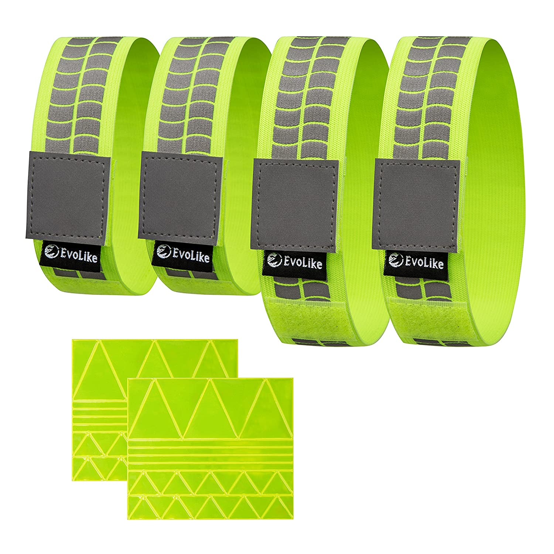 10 X HIGH VISIBILITY SLAP ARM BANDS WRIST BAND REFLECTIVE VIZ STRAP YELLOW 40cm