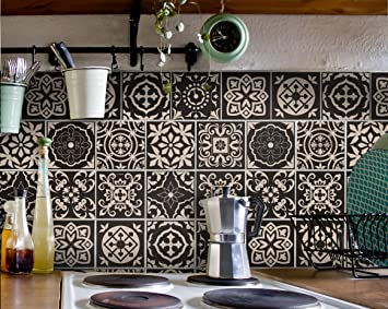 Fliesenaufkleber Bad Deko U. Küche   Portugiesisch Braun Creme Muster  Fliesensticker Braun |