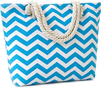 Nautical Stripe Design Rope Handles Canvas Tote Bag Shopper Shoulder Beach