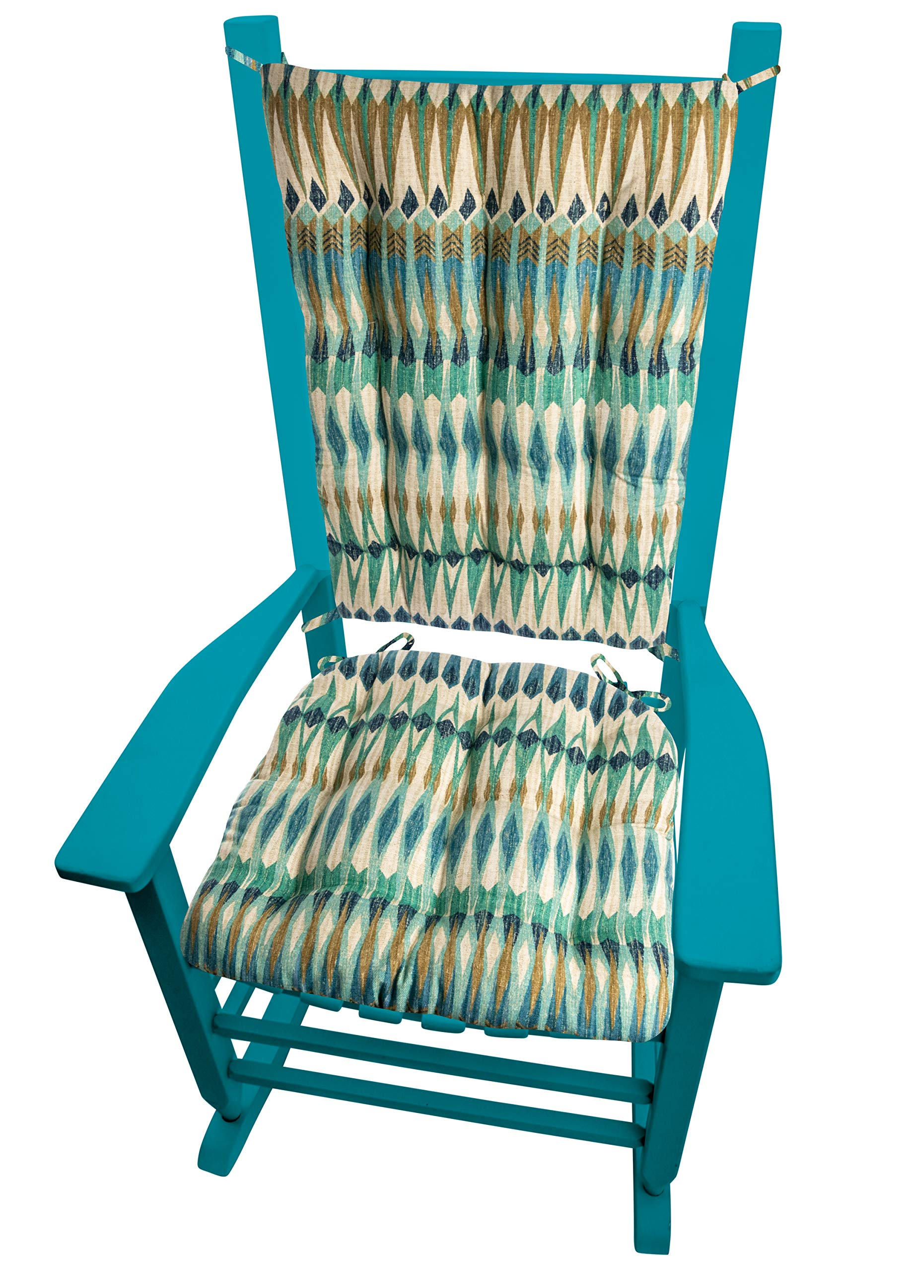 Barnett Products Southwest Arapaho Rocking Chair Cushions - Size Extra-Large - Seat Cushion and Back Rest - Latex Foam Fill (Presidential, Green/Teal Eagle Feathers) by Barnett Products (Image #3)