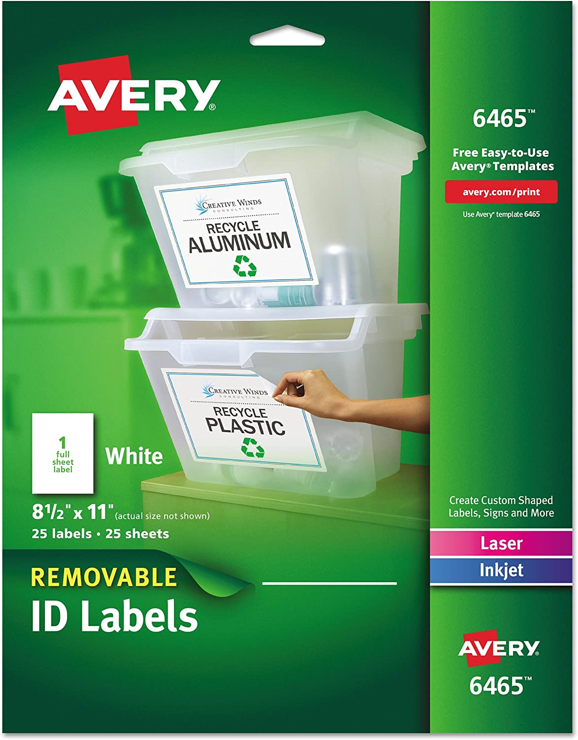 Avery Self-Adhesive Removable Laser Id Labels, White, 8.5 x 11 inches, 25 per Pack (6465) : Id Labels Full Sheet : Office Products