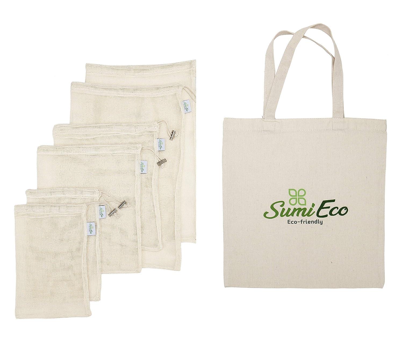 エコバッグ付き再利用可能な青果用バッグ 食料品の買い物&収納に オーガニック天然コットンは生分解性です パッケージはリサイクル可能 ラベルに重厚 ダブルステッチの縫い目 B07DPJ3V4Q 1. Mesh Bag 3pack + Canvas Shopping Bag 1pc