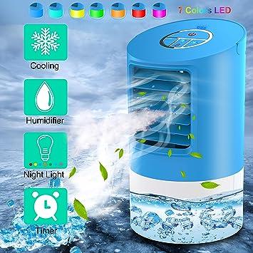 Refroidisseur Dair Mini Climatiseur Climatiseur Portable 3 En 1 3 Vitesses 7 Couleurs Bleu