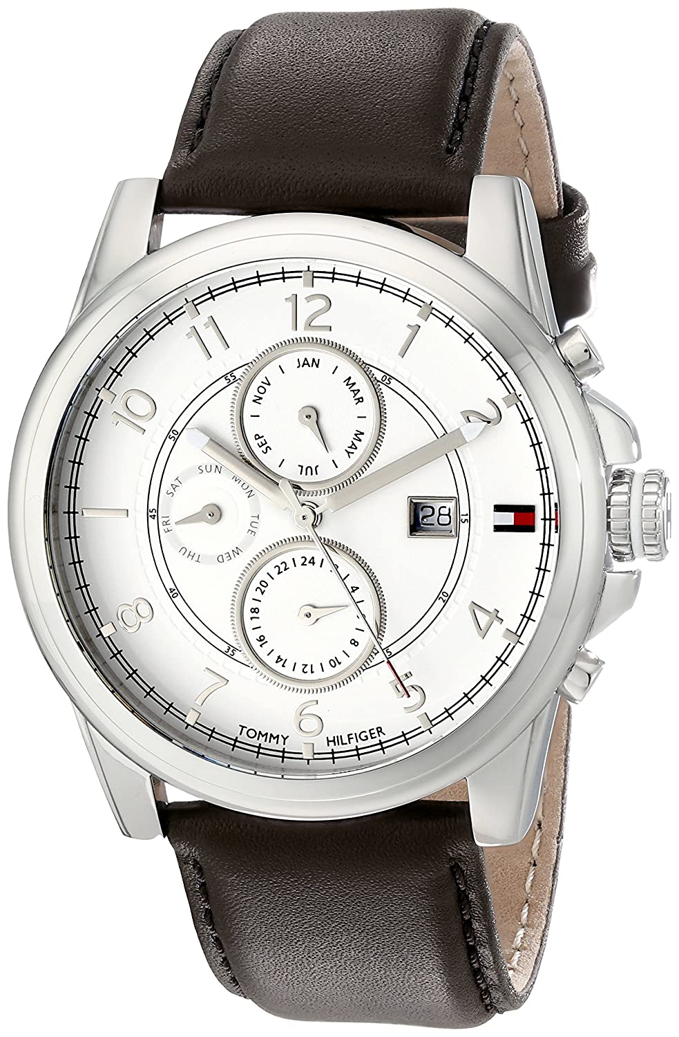 c0def9106 Amazon.com: Tommy Hilfiger Men's 1710294 Stainless Steel Watch with Brown Leather  Band: Tommy Hilfiger: Watches