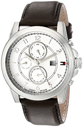 d8aa0ee86 Image Unavailable. Image not available for. Color: Tommy Hilfiger Men's  1710294 Stainless Steel Watch with Brown Leather Band