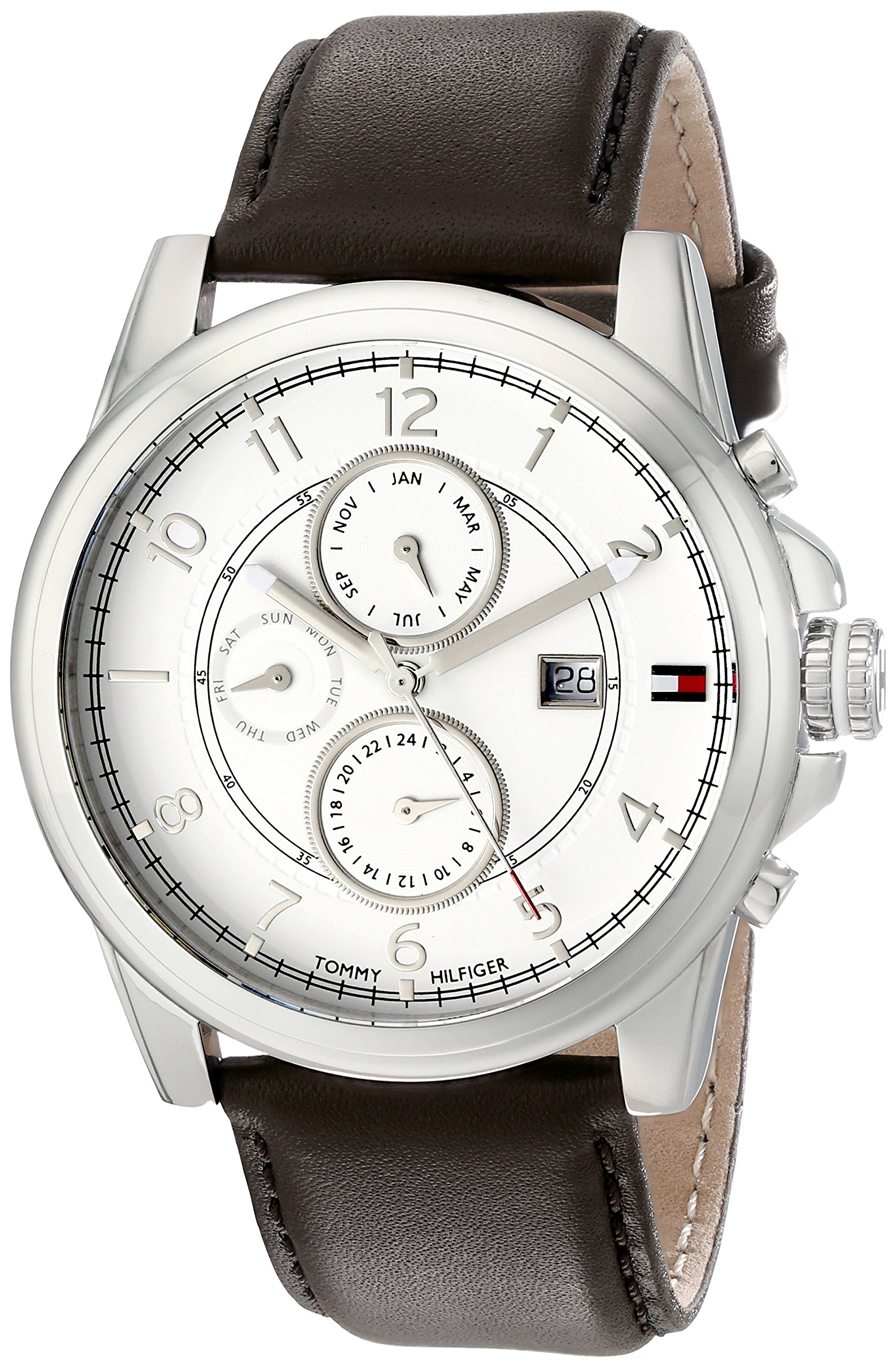 Men's 1710294 Stainless Steel Watch with Brown Leather Band