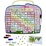 Yoyoboko Chore Reward Chart for Multiple Children with Magnetic Backing, 3 x Dry Erase Marker and Storage Bag - Ele-Fun Responsibility Star Chart, 14.4 x 34cm (Spanish) (English)