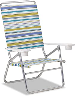 product image for Telescope Casual Striped Light and Easy High Boy Anodized Sliver Finish Coastline Fabric Chaise, Multicolor (M51174701)