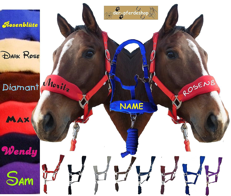 der-pferdeshop.de Halfter Warmblut (FULL), Vollblut (VB/COB) oder Pony Fleece unterlegt mit Strick und NAMEN