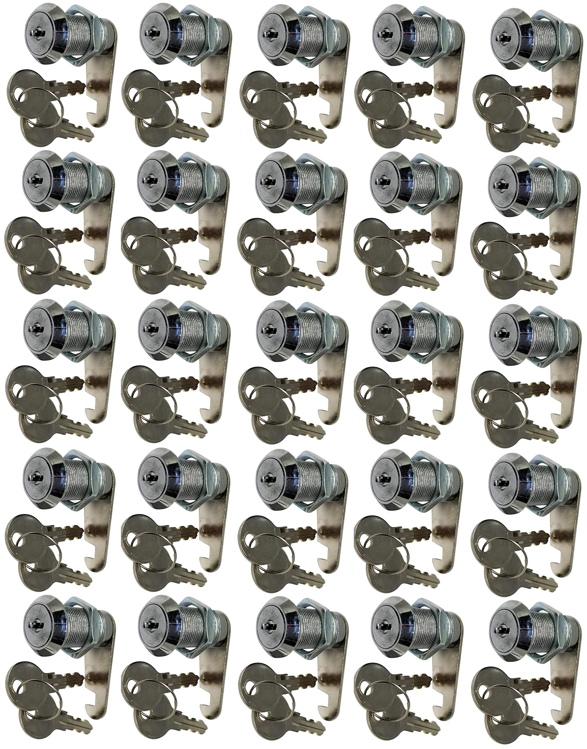 Flat Key Cam Locks. Great for RV Storage Cabinets Chrome Finish, Keyed Alike (1-1/8'', Pack of 25) by Products Quad (Image #1)