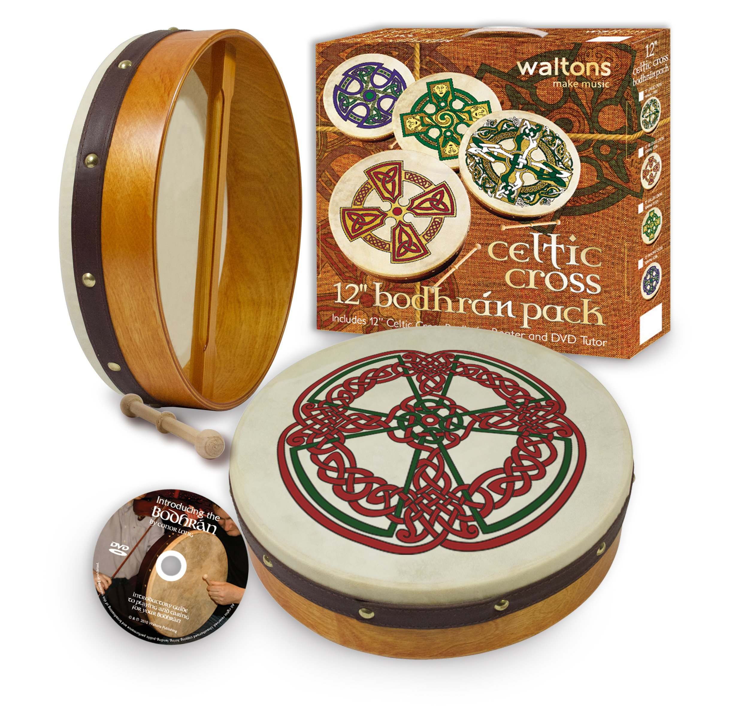 Waltons Bodhrán 12'' (Knotwork) - Handcrafted Irish Instrument - Crisp & Musical Tone - Hardwood Beater Included w/Purchase