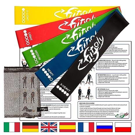 FitFitaly Bandas Elasticas Resistencia - 5 Gomas Fitness, PDF Guía De Ejercicios
