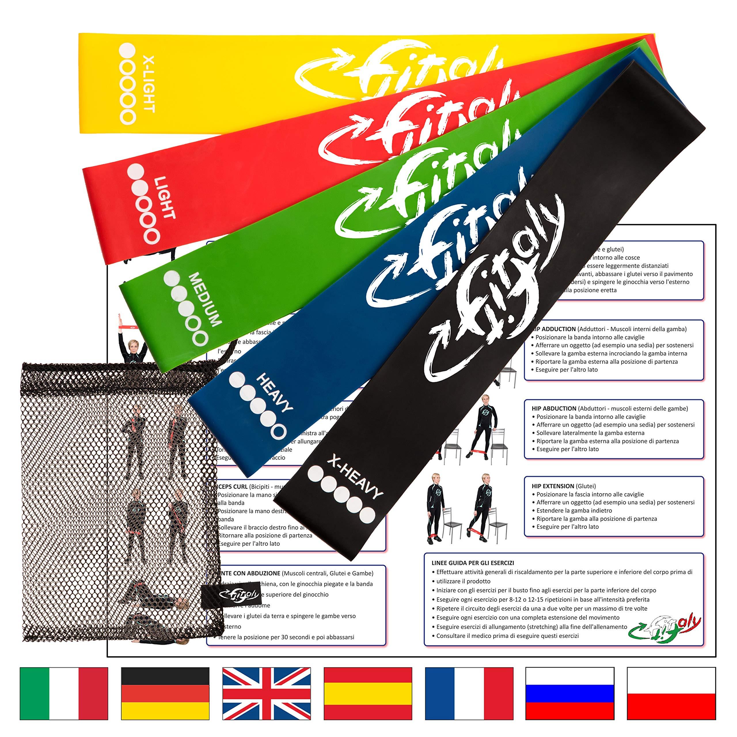 FitFitaly Bandas Elasticas Resistencia - 5 Gomas Fitness, PDF Guía De Ejercicios product image