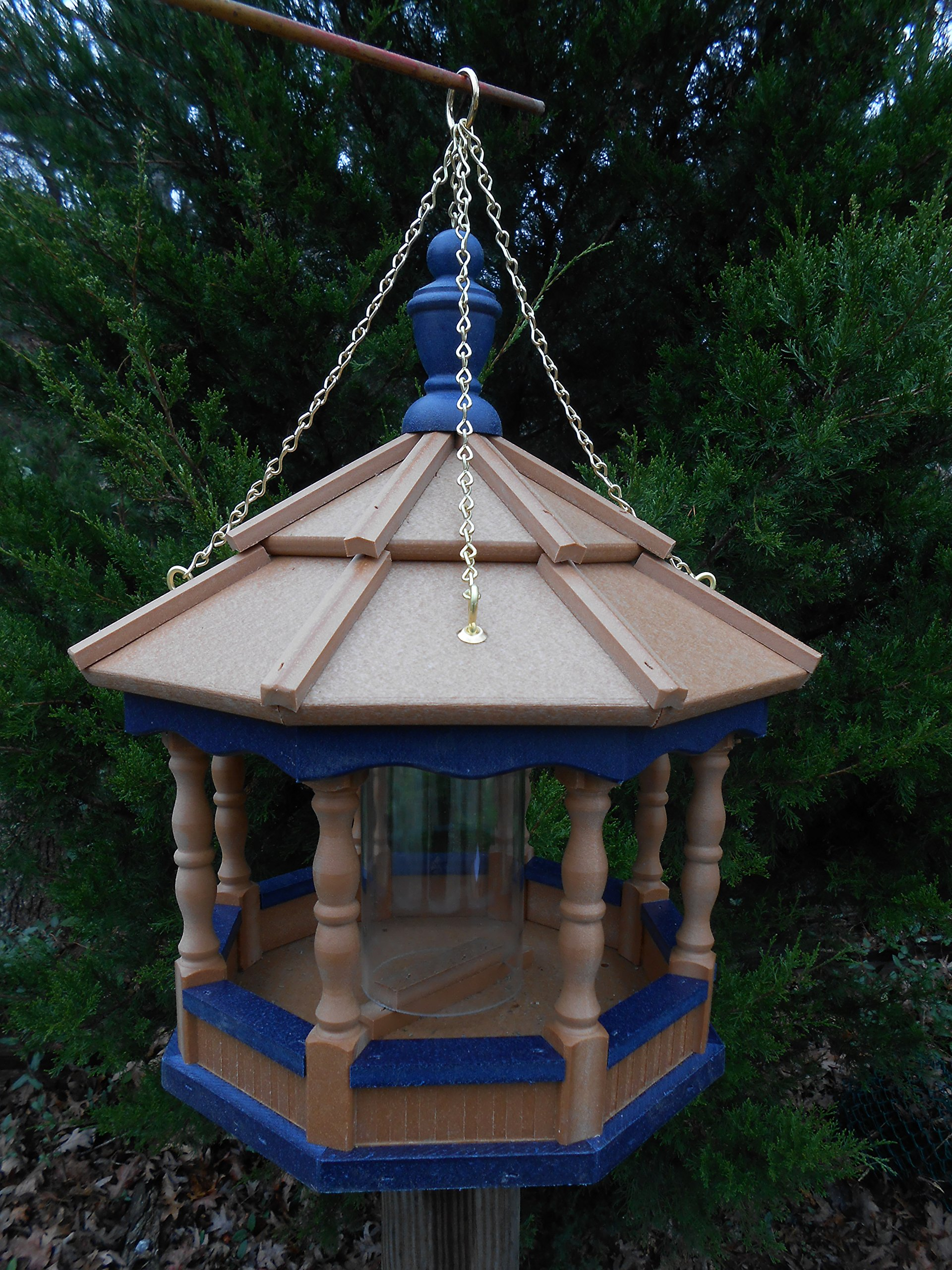 Poly Amish Gazebo Bird Feeder Spindle Hanging w/Chain Yard Handcraft homemade Md