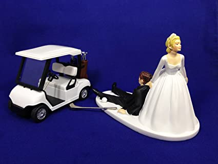 Amazon Com Bride And Groom Golf Wedding Cake Topper Funny Golf