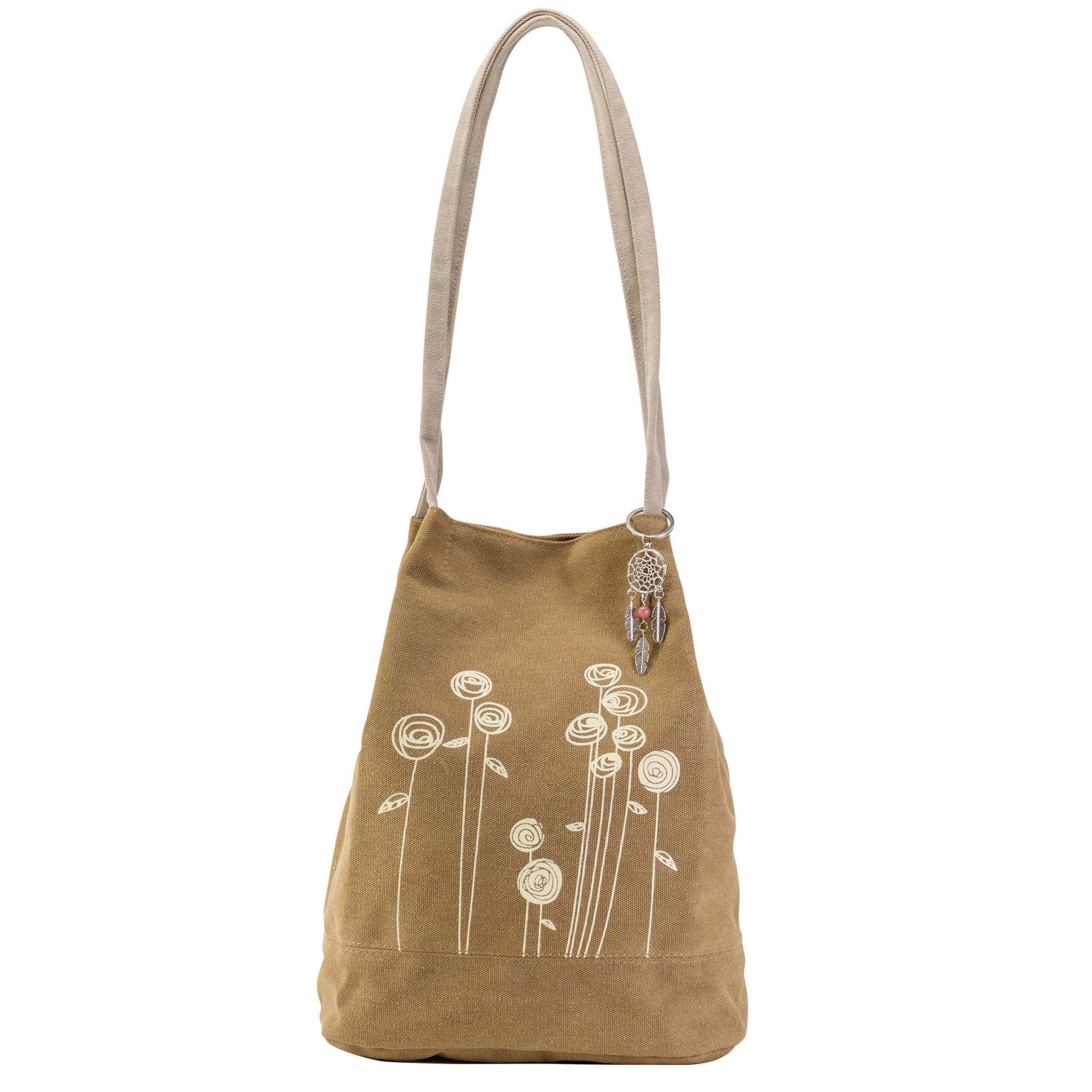 Cute Boho Purse Bag - Bohemian Style Flower Hippie Handbag - Small Brown Gypsy Canvas Tote