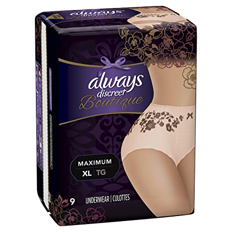 Amazon.com : Always Discreet Boutique Incontinence Underwear Maximum Protection XL - 9 Disposable Incontinence Protective Underwear - Peach - Extra Large : ...