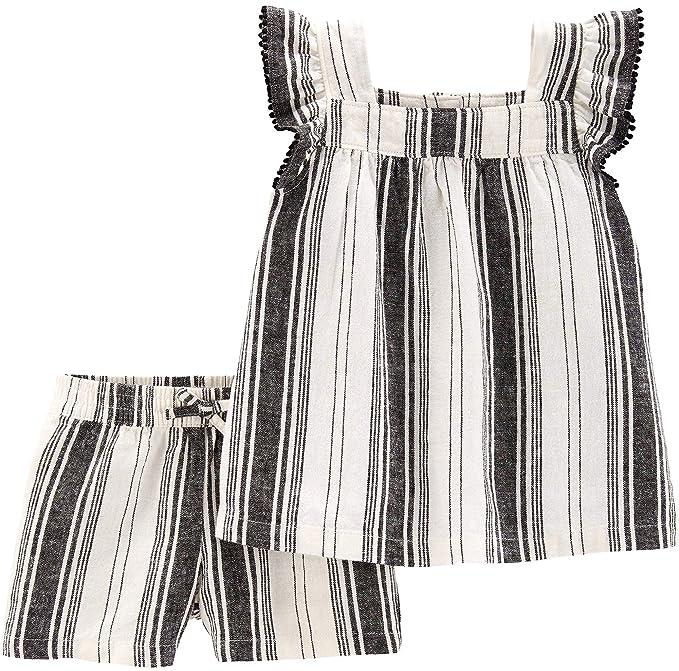 4e24b52534ca Amazon.com  Carter s Toddler Girls Striped Pom Pom Shorts Set 2T ...