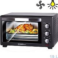 Mini four | 19 litres | 1380 watts | avec plaque anti-miettes | éclairage intérieur | chaleur tournante | mini-four à pizza | porte à double vitrage | minuterie | TZS First Austria |