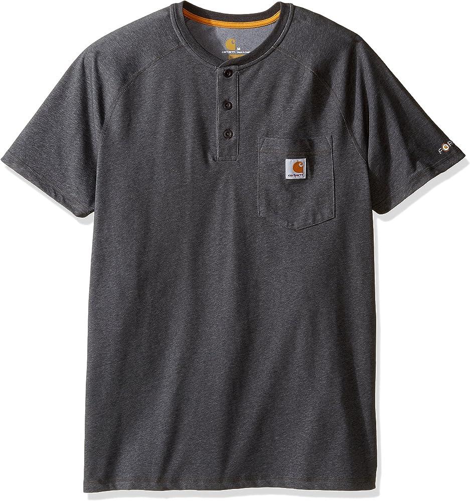 Carhartt Men/'s Force Cotton Short-Sleeve Henley Shirt Heather Gray 2XL
