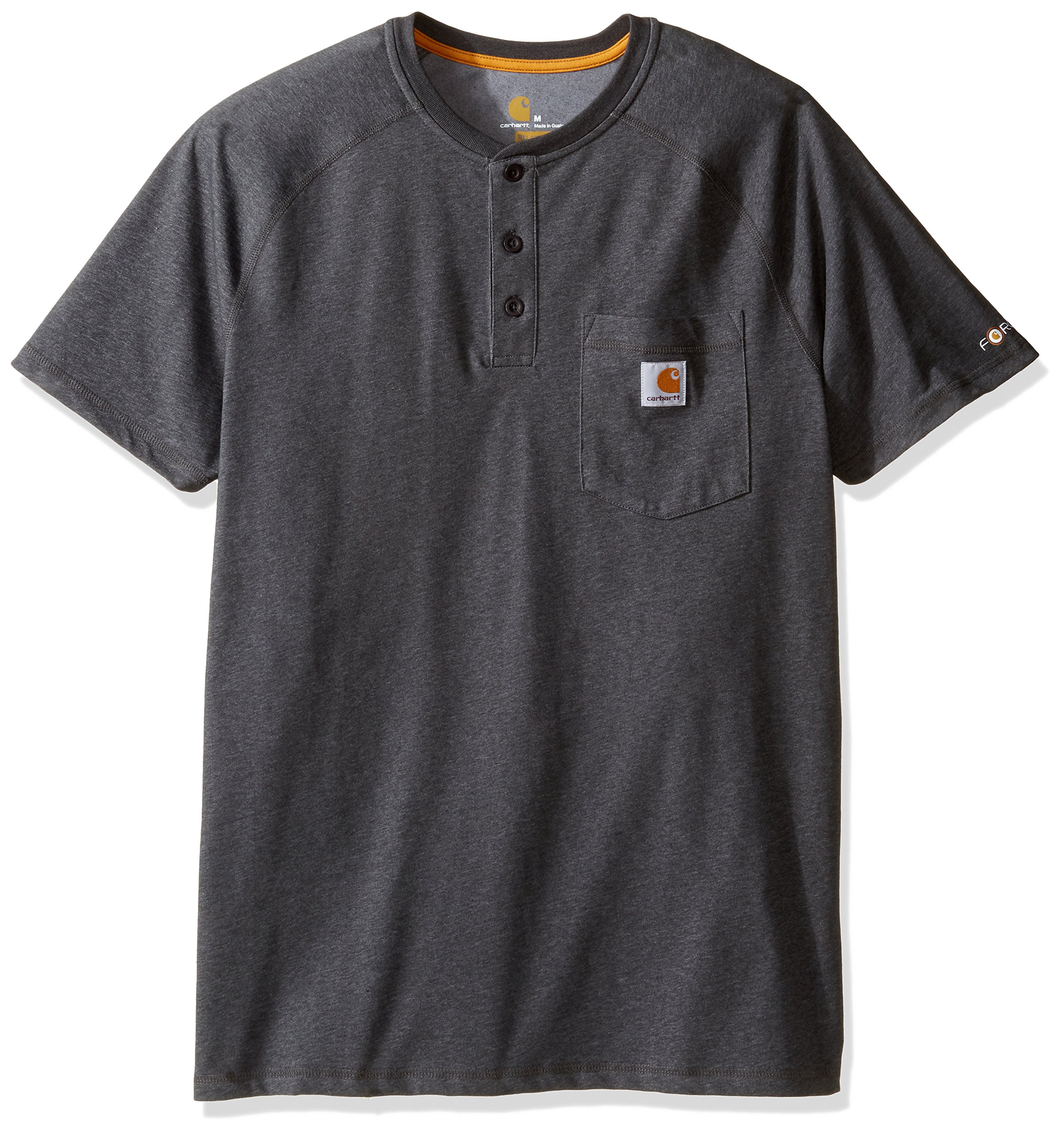 Carhartt Men's Force Cotton Delmont Short Sleeve Henley Relaxed Fit, Carbon Heather, X-Large