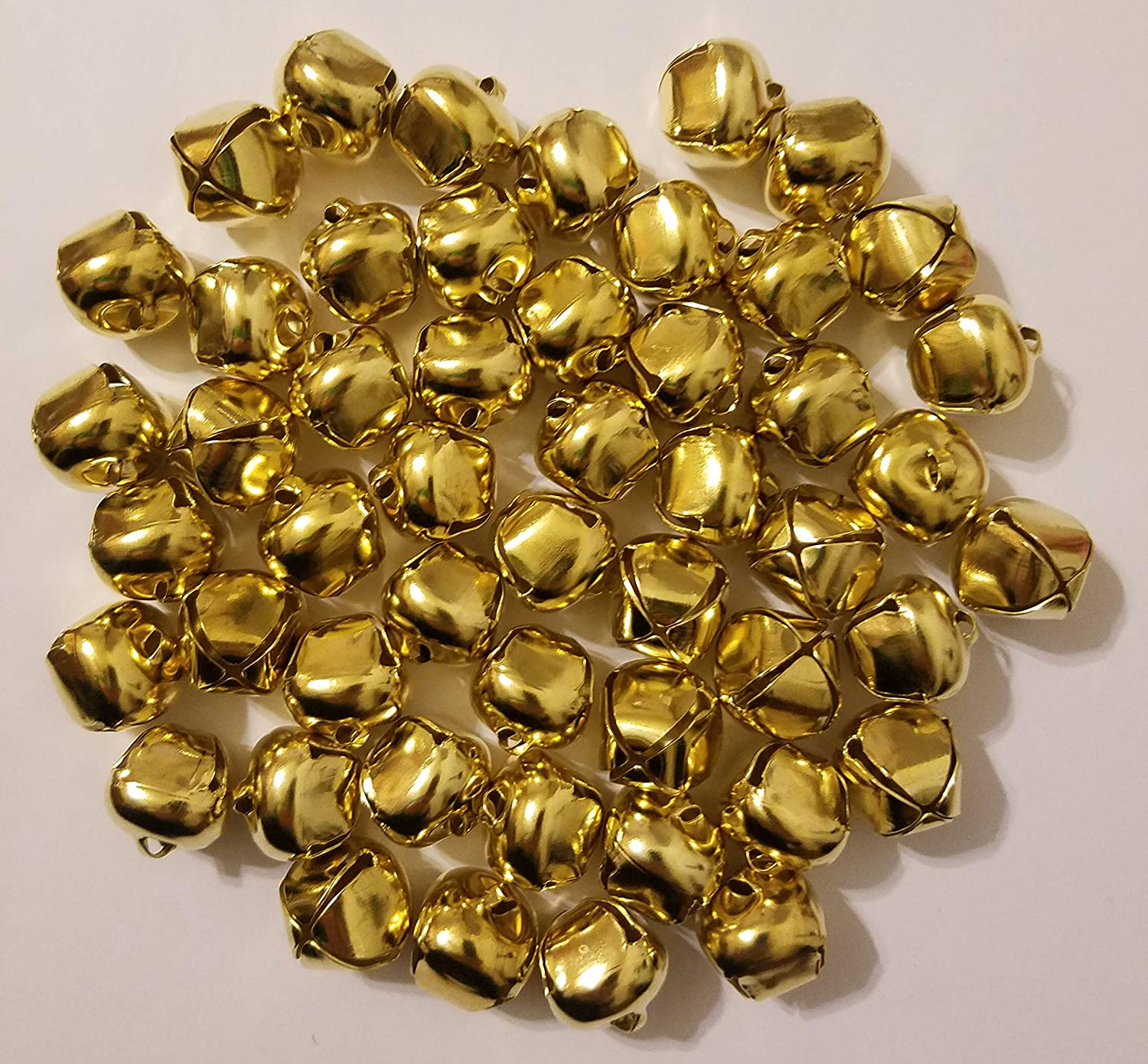 3//4 20mm Pack of 50 Shiny Gold Metal Craft Jingle Bells