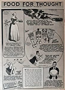 Love Spoons,Buffalo,chocolate girl,roc egg, 40's B&W print ad. Illustration, painting (food for thought by Robert Pilgrim) Original Vintage 1940 the Family Circle Magazine Art