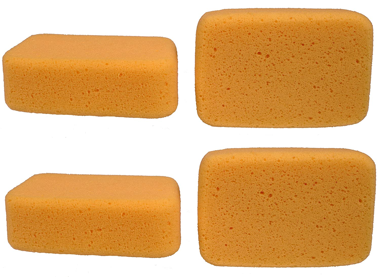 Creative Hobbies Value Pack of 4 Sponges for Painting, Crafts, Grout, Cleaning & More, Synthetic Silk Sponges, BIG 7.5 inch x 5 inch x 2 inch thick 505