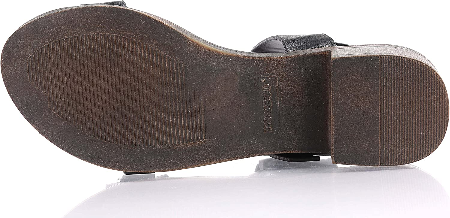 """BAMBOO Fashion Faux Leather Double Buckles Straps Open Toe Womens 1.75/"""" Thick Cuban Heels Sandals Shoes"""