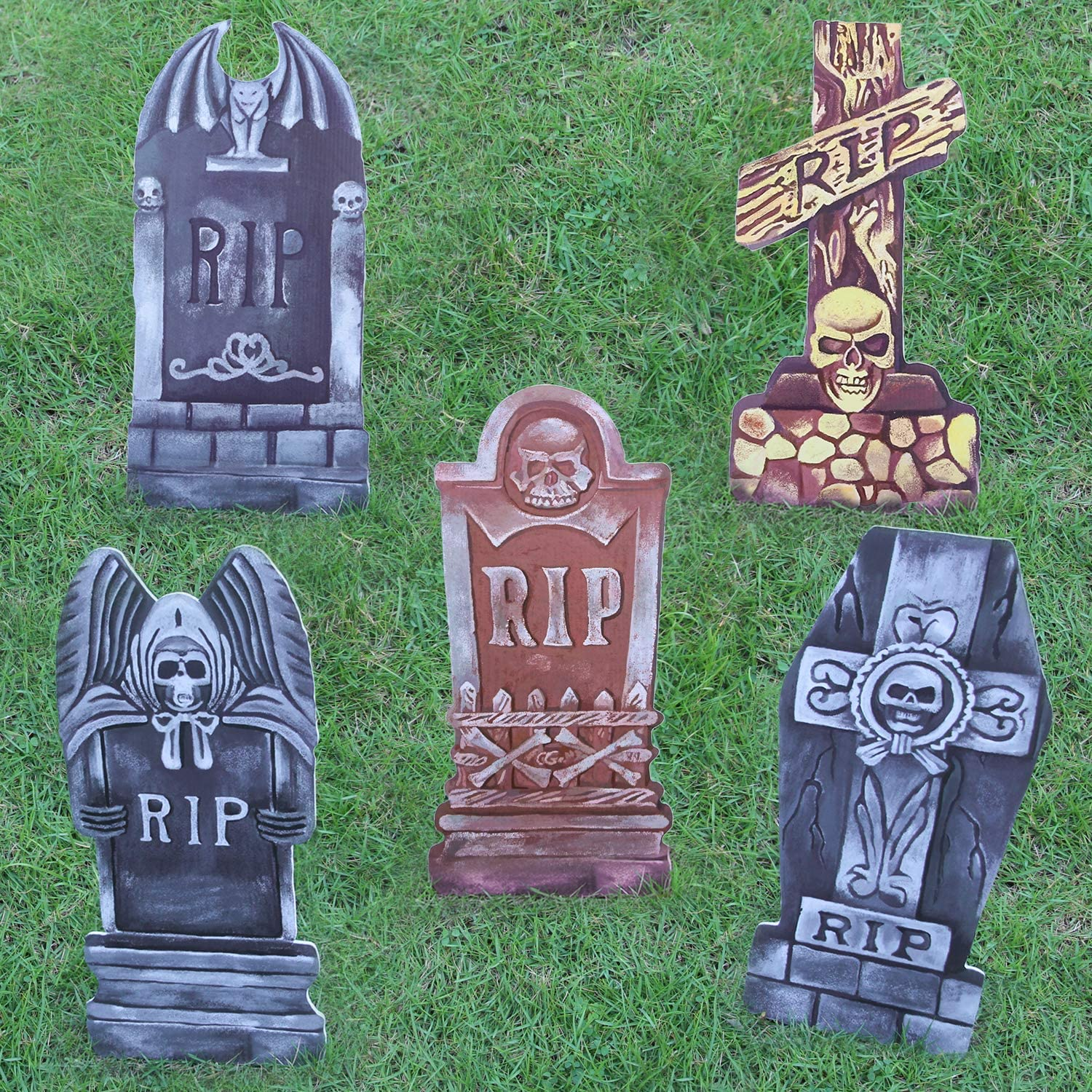 Halloween Yard Sign Eye-catching Halloween Yard Decor Spooky Tombstones Signs Designs of RIP Skull Cross Large Size Scary Halloween Decorations in Entrances / Backyards / Lawns / Interiors (5pcs)