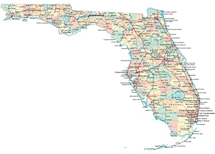 Www Map Of Florida.Conversationprints Florida Road Map Glossy Poster Picture Photo State Miami Gators Orlando Fl 24 X36