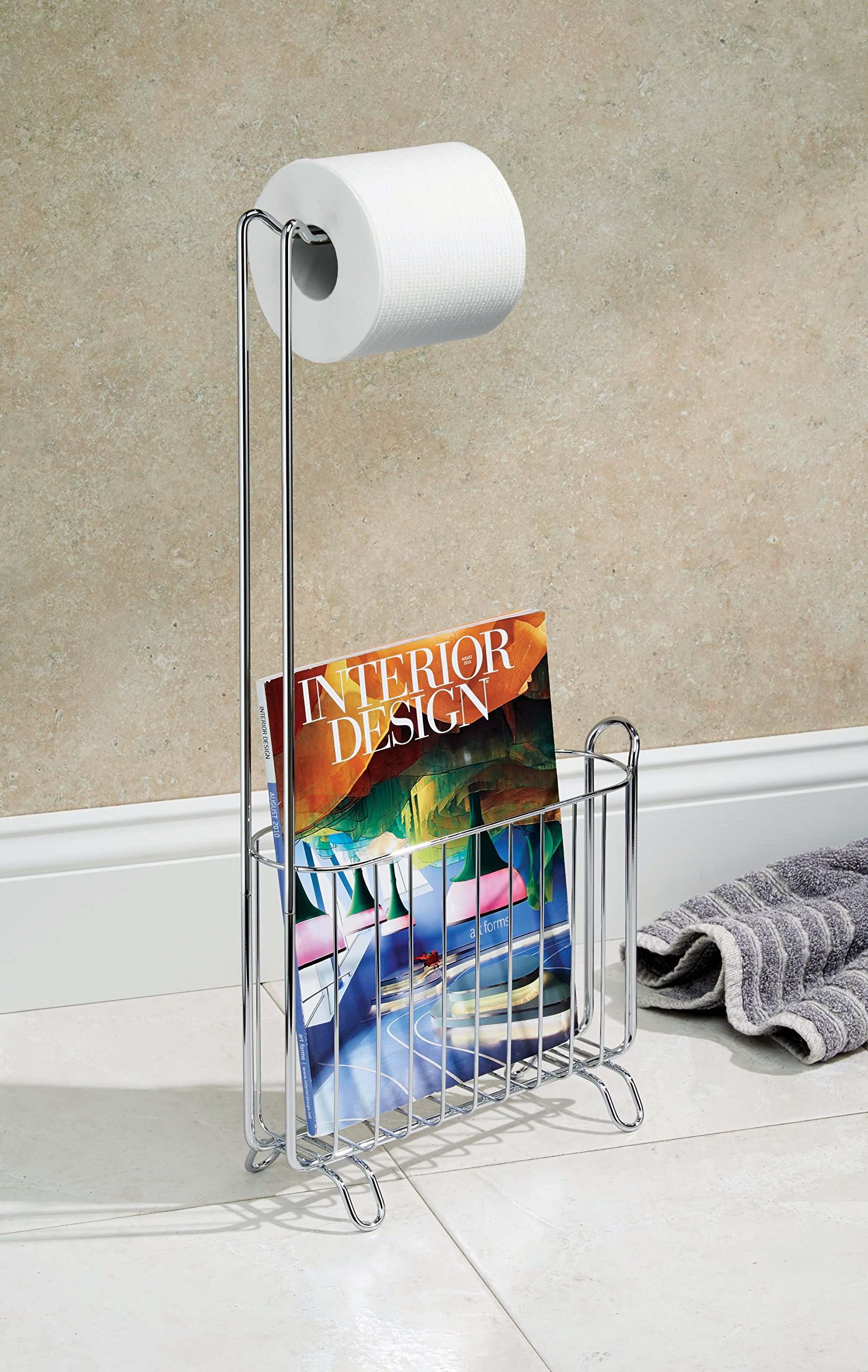 InterDesign Classico Free-Standing Toilet Paper Holder and Magazine Rack –Bathroom Organizer - Chrome